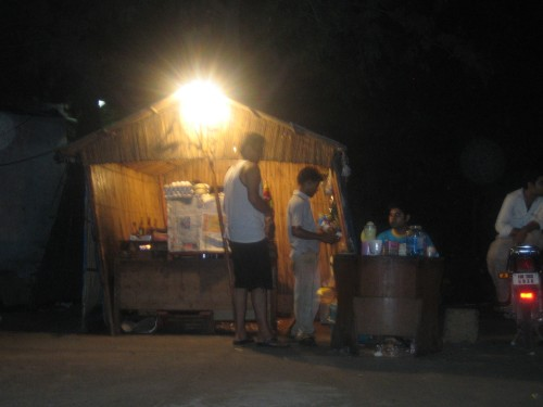 "The ""Arcus""/""Chicken Role"" hut at night"