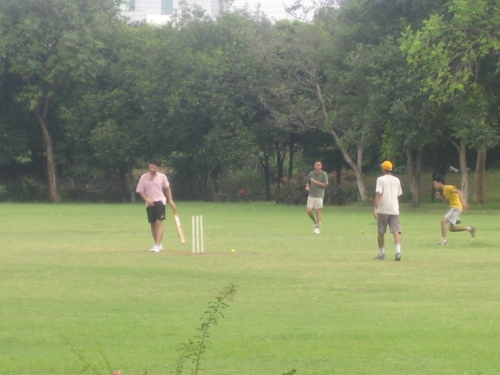 Students playing Cricket
